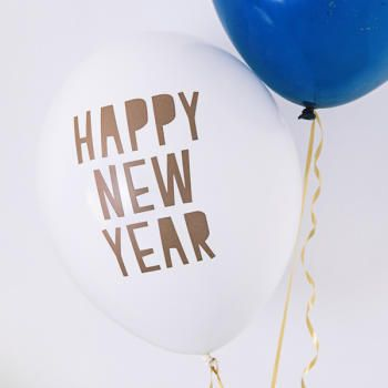 Balony 30 cm, Happy New Year, Pastel Pure White